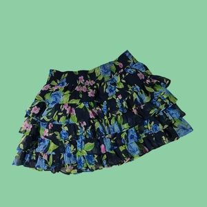 Abercrombie & Fitch Ruffled Floral Miniskirt